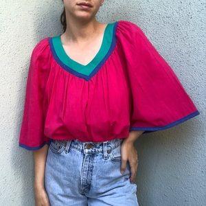 [vintage] 70s union cotton gauze bright ruffle top